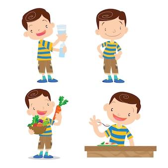 Personagem de menino bonito dos desenhos animados muitos ação.