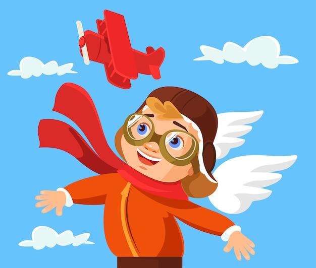 Personagem de menino brincando com brinquedo de avião