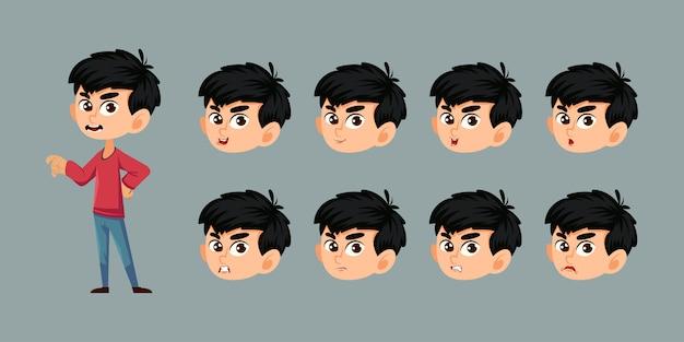 Personagem de menino com várias emoções faciais e sincronização labial