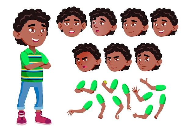 Personagem de menino criança. africano. construtor de criação para animação. emoções de rosto, mãos.