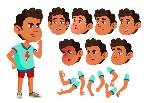 Personagem de menino criança. árabe. construtor de criação para animação. emoções de rosto, mãos.
