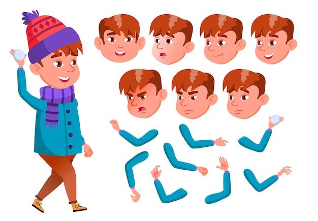 Personagem de menino criança. europeu. construtor de criação para animação. emoções de rosto, mãos.