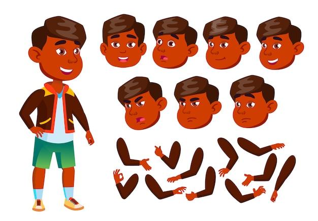 Personagem de menino criança. indiano. construtor de criação para animação. emoções de rosto, mãos.