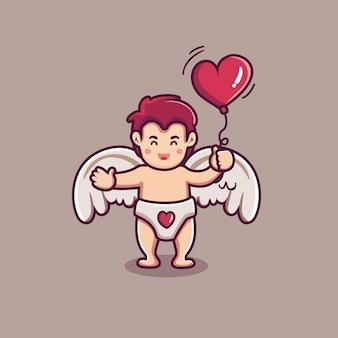 Personagem de menino cupido fofo segurando um balão em forma de coração