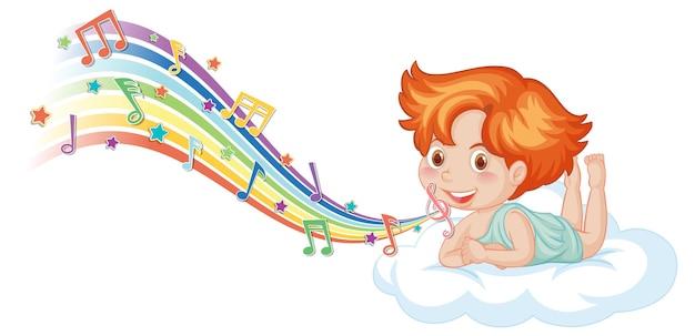 Personagem de menino cupido na nuvem com símbolos de melodia no arco-íris