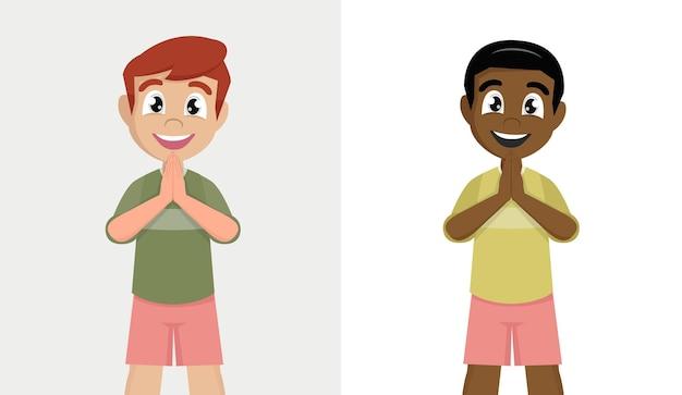 Personagem de menino em pose de respeito