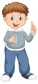 Personagem de menino feliz em branco