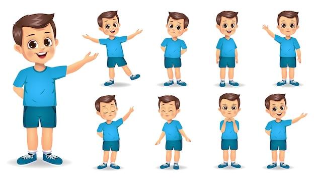 Personagem de menino fofo com diferentes gestos definidos