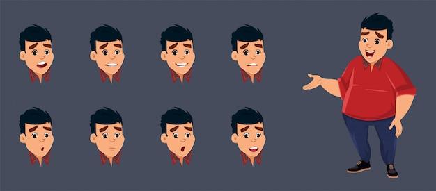 Personagem de menino gordo com várias emoções faciais