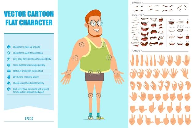 Personagem de menino gordo ruiva plana engraçada de óculos, camiseta e shorts. expressões faciais, olhos, sobrancelhas, boca e mãos.