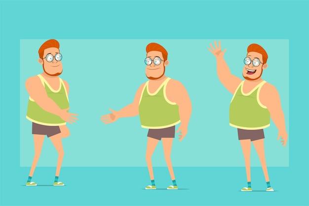 Personagem de menino gordo ruiva plana engraçada de óculos, camiseta e shorts. menino apertando as mãos e mostrando um gesto de olá ou tchau.