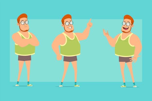 Personagem de menino gordo ruiva plana engraçada de óculos, camiseta e shorts. menino de pé, mostrando o dedo e gesto de boas-vindas.