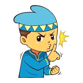 Personagem de menino muçulmano por favor, seja tranquila pose.