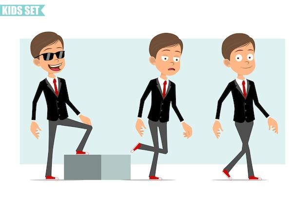 Personagem de menino plano engraçado dos desenhos animados na jaqueta preta com gravata vermelha. criança bem-sucedida e cansada caminhando em direção ao seu objetivo. pronto para animação. isolado em fundo cinza. conjunto.