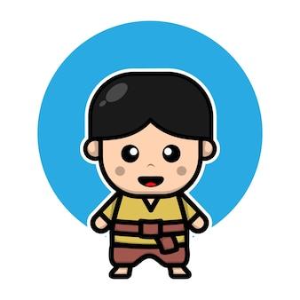 Personagem de menino tailandês fofo