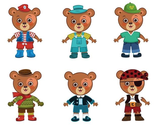 Personagem de menino urso de vetor com seu conjunto de pano para jogos de vestir boneca de papel