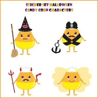 Personagem de milho de doces de halloween adequado para o conjunto de adesivos de halloween