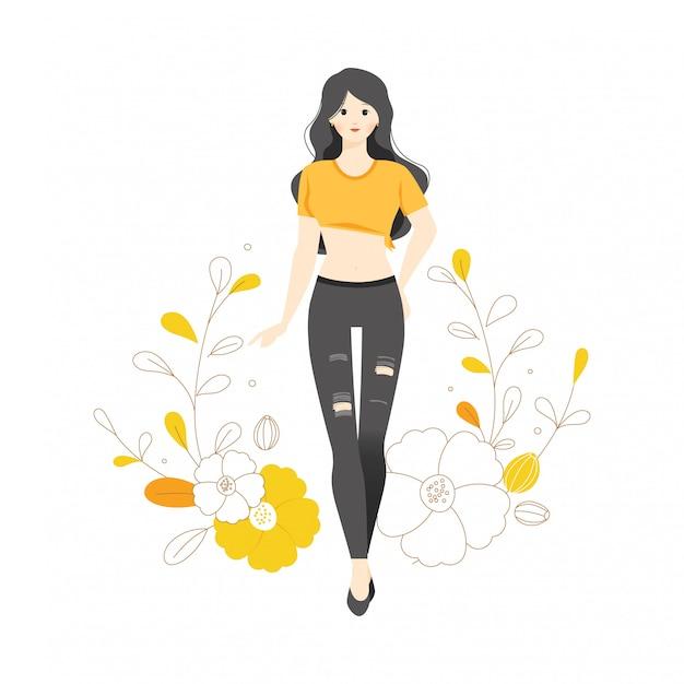 Personagem de modelo de moda estilo pose flor ilustração botânica adolescente vestindo jeans rasgados crop top camiseta
