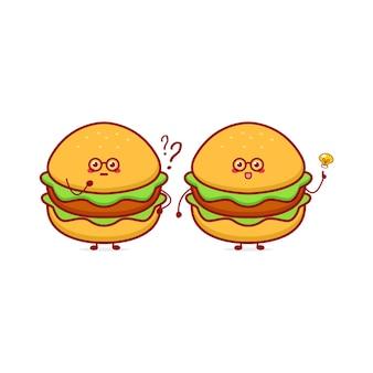 Personagem de moeda de hambúrguer engraçado fofo ilustração em vetor mascote de desenho animado desenhado à mão