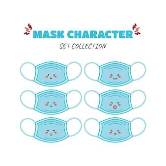 Personagem de moeda de máscara engraçada fofa ícone de ilustração de personagem de mascote de desenho vetorial desenhado à mão