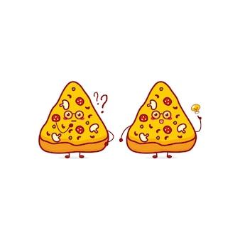 Personagem de moeda de pizza fofo e engraçado ícone de ilustração de personagem de desenho animado desenhado à mão