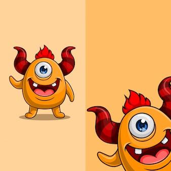 Personagem de monstro bonito com chifres e um olho acenando. com posição diferente do ângulo de exibição, desenhado à mão