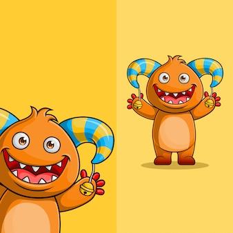 Personagem de monstro bonito dos desenhos animados acenando. com posição diferente do ângulo de exibição, desenhado à mão