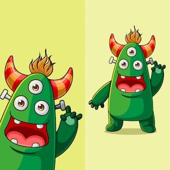Personagem de monstro de três olhos bonitinho acenando, com posição de ângulo de exibição diferente, mão desenhada