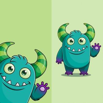 Personagem de monstro demônio bonito acenando, com posição de ângulo de exibição diferente, mão desenhada