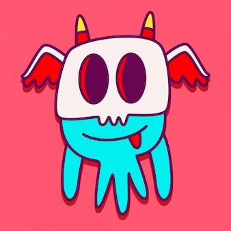 Personagem de monstro doodle ilustração de etiqueta
