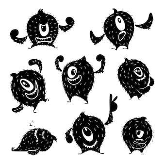 Personagem de monstro engraçado em poses de ação diferentes. sorriso fofo do diabo. ilustrações monocromáticas