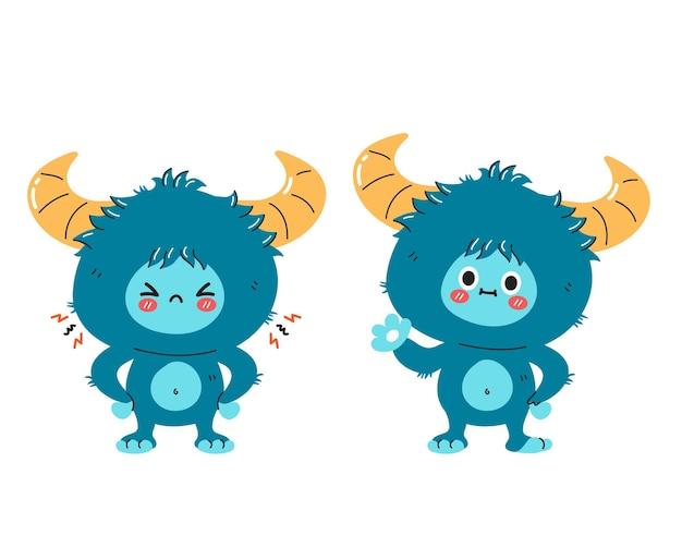Personagem de monstro fofinho engraçado, triste e feliz