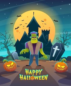 Personagem de monstro frankenstein feliz do dia das bruxas com castelo à noite escura e ilustração do conceito de lua