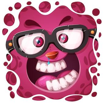 Personagem de monstro louco engraçado, fofo.