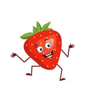 Personagem de morango fofa com emoções de alegria sorrindo rosto olhos felizes braços