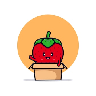 Personagem de morango fofa dentro de ilustração de ícone de caixa plana