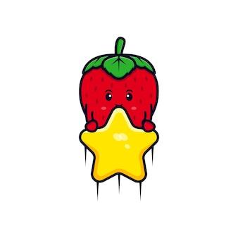 Personagem de morango fofa flutuando com ilustração de estrela plana