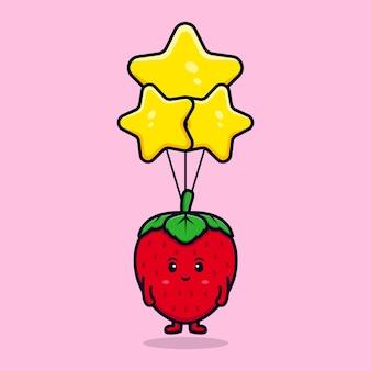 Personagem de morango fofa flutuando com ilustração de ícone plana de balão estrela