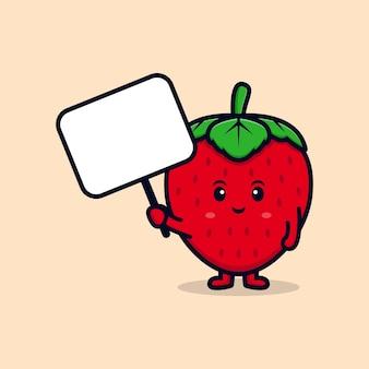 Personagem de morango fofa segurando ilustração de ícone plana de quadro de texto em branco