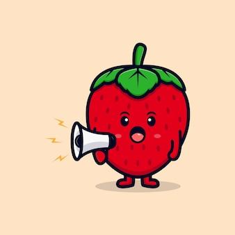 Personagem de morango fofa separando-se de ilustração de ícone plano de megafone