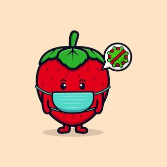 Personagem de morango fofa usando máscara para ilustração de ícone plana de vírus de prevenção