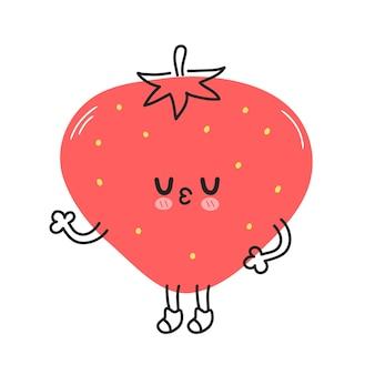 Personagem de morango fofo e engraçado