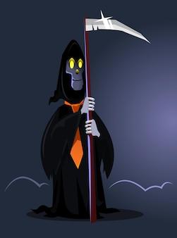 Personagem de morte sorridente feliz. conceito de feliz dia das bruxas. ilustração plana dos desenhos animados