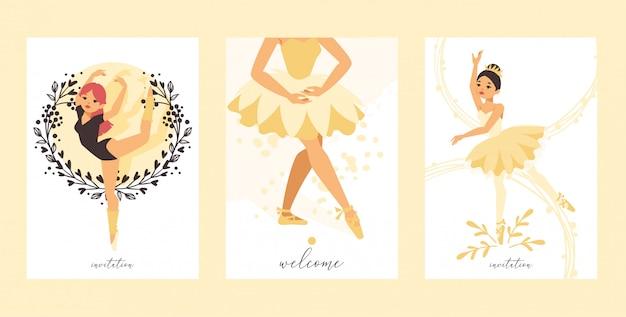 Personagem de mulher bailarina bailarina dançando na ilustração de tutu de saia de ballet