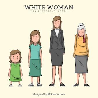 Personagem de mulher branca em diferentes idades