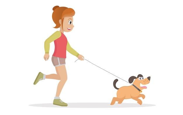 Personagem de mulher caminhando com cachorro