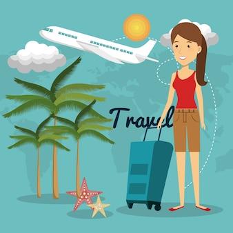 Personagem de mulher com mala de viagem vector design ilustração