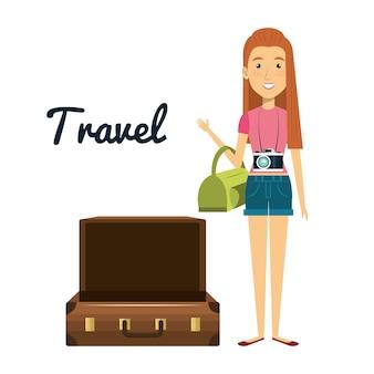 Personagem de mulher com mala de viagem