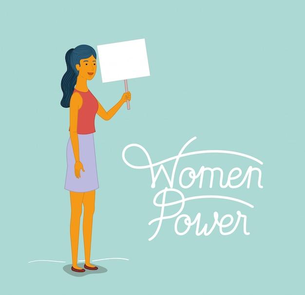 Personagem de mulher com mensagem feminista