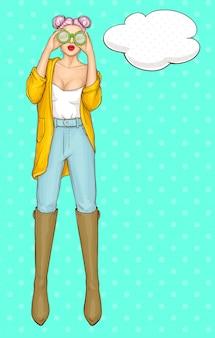 Personagem de mulher com roupas modernas e moda